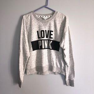 Victoria's Secret Love Pink Gray Crew Neck Sweater